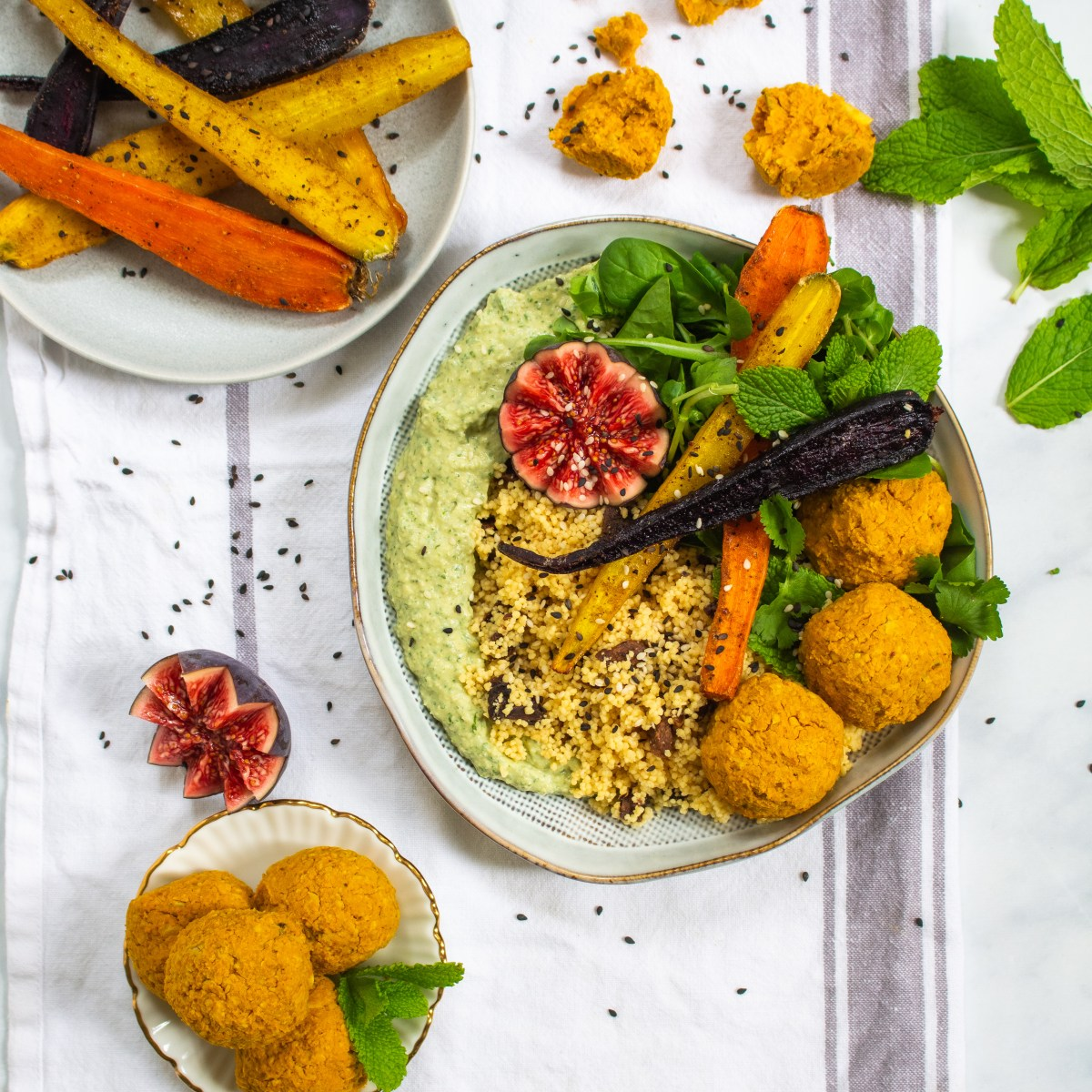 Baked Pumpkin Falafel Bowl with Herby Hummus and Roasted Carrots