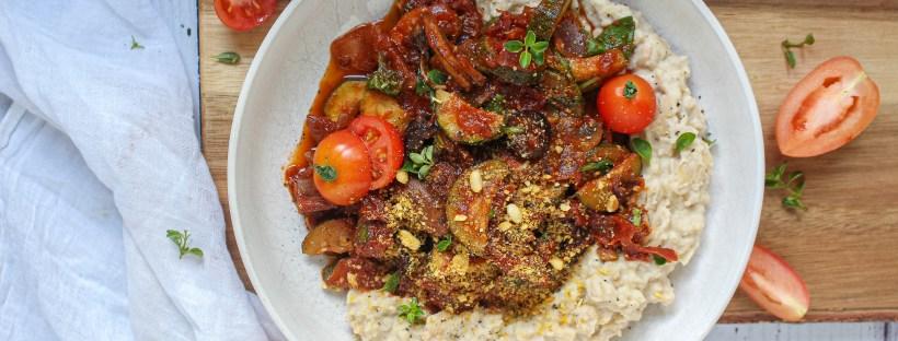 Sundried Tomato and Olive Ragu with Tahini Butter Bean Mash