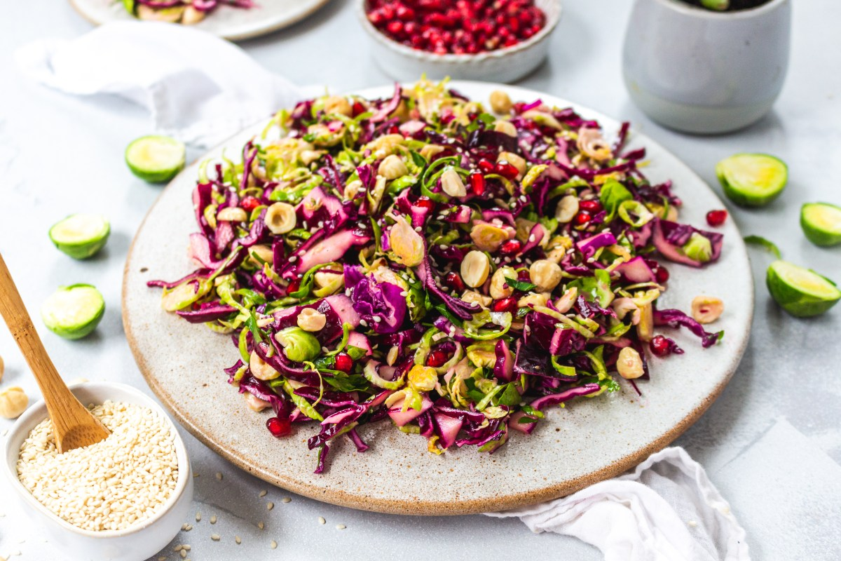 Brussel Sprout Red Cabbage and Hazelnut Slaw