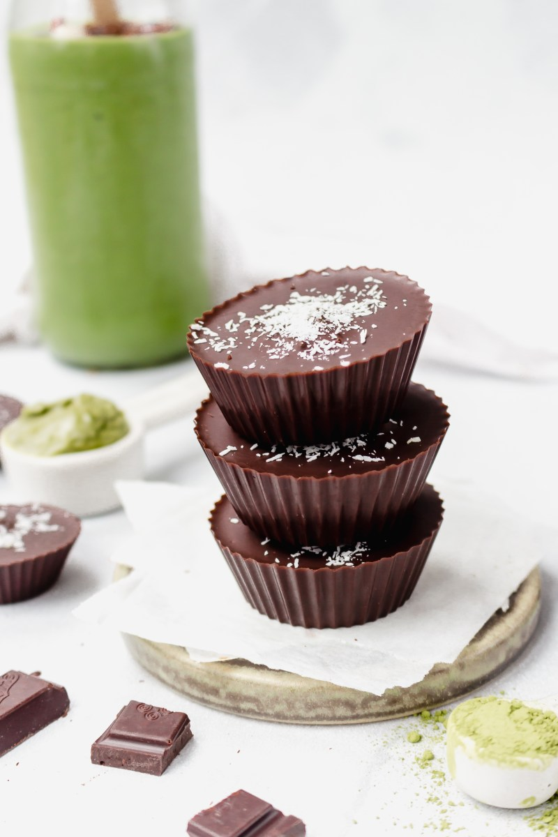 Minty Matcha Chocolate Nut Butter Cups