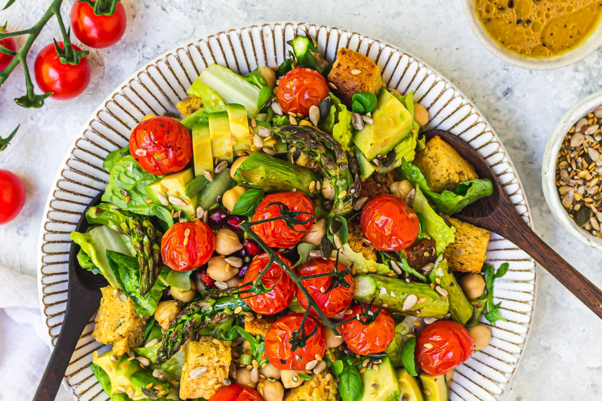 Grilled Tomato Asparagus and Chickpea Panzanella Salad