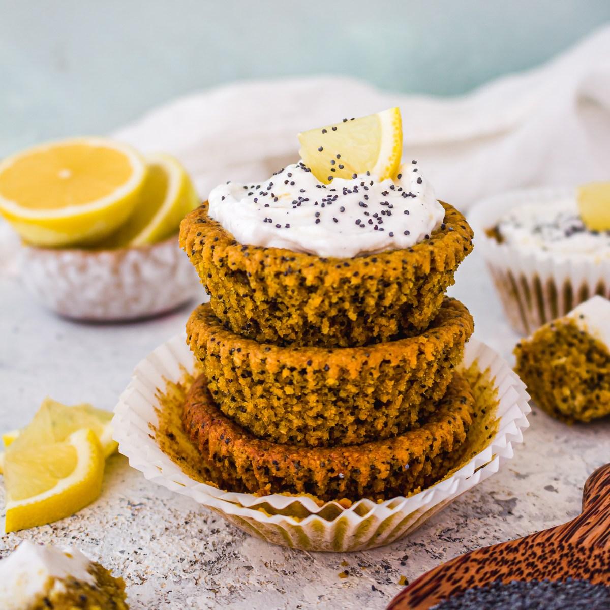 Lemon Turmeric and Poppyseed Muffins