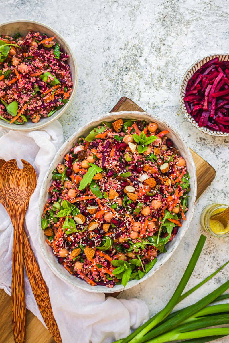Almond Beetroot and Chickpea Quinoa Salad