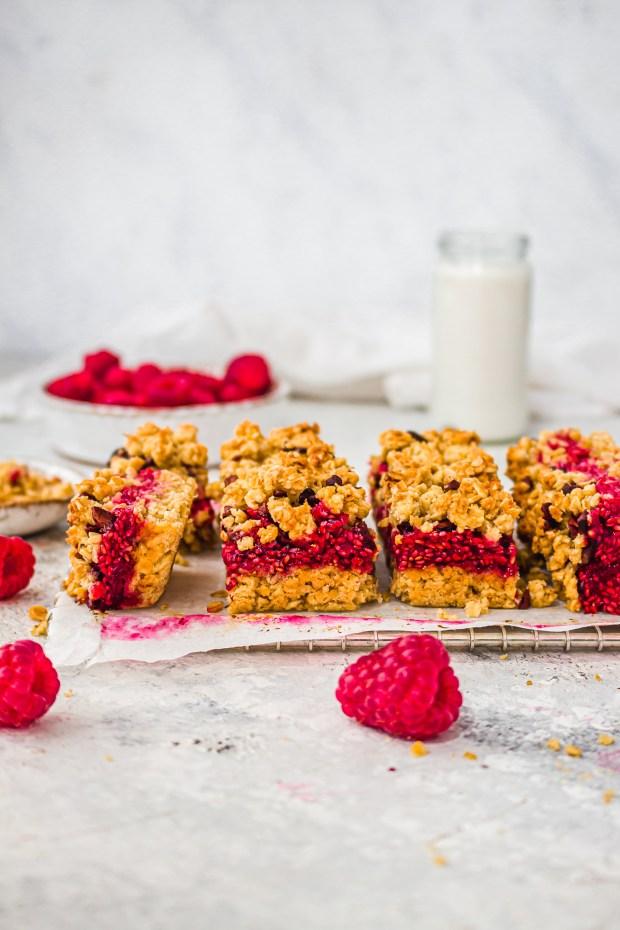 Raspberry Oat and Cacao Nib Crumble Bars