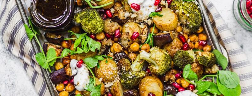 Balsamic Roasted Potato Aubergine and Broccoli Tray Bake
