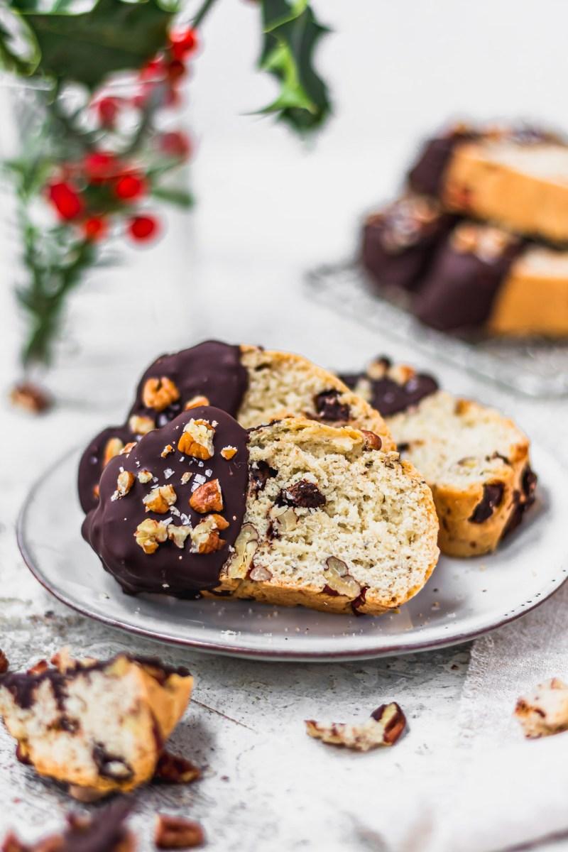 Vegan Chocolate Pecan Biscotti