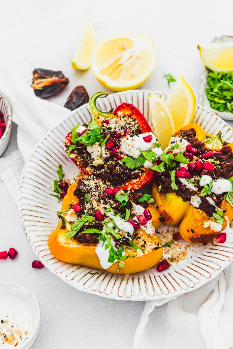 Moroccan-Style Lentil Stuffed Peppers