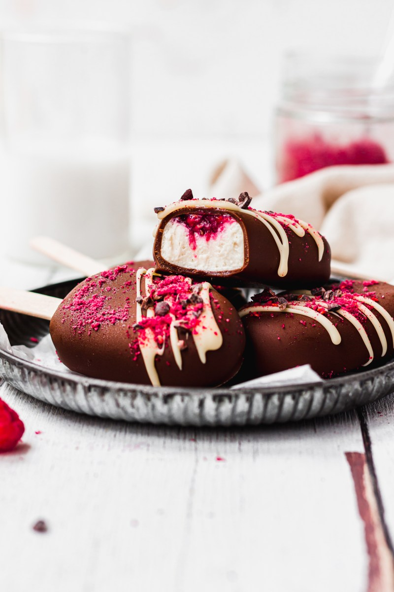 Raspberry and Vanilla Chocolate Magnum Ice Creams