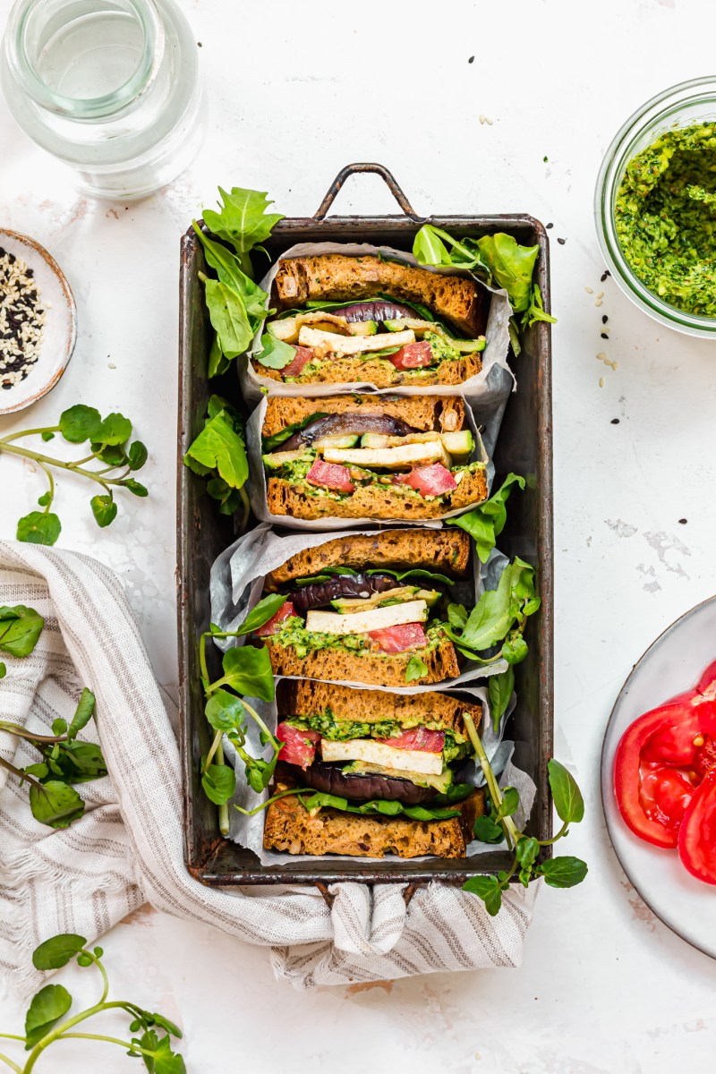 Grilled Vegetable, Tofu and Kale Pesto Sandwich