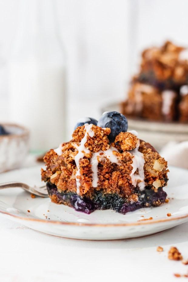 An eaten piece of Blueberry Streusel Cake