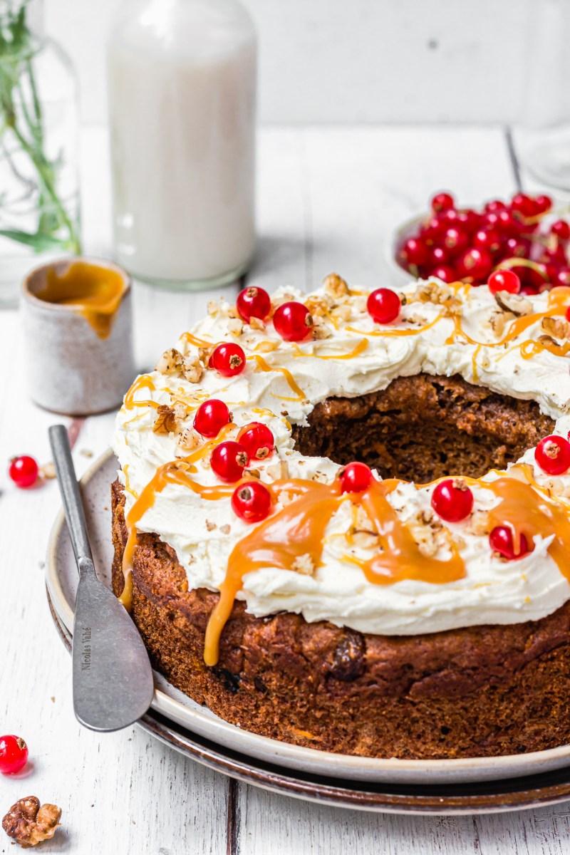 Close up Carrot and Raisin Bundt Cake