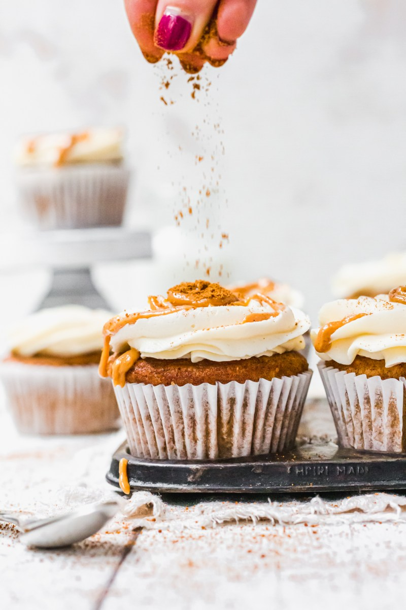 Chai Pumpkin Spice Cupcakes with Vanilla Buttercream and a sprinkle of cinnamon
