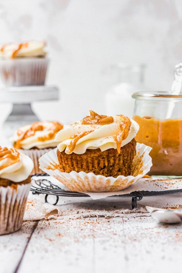 Unwrapped Chai Pumpkin Spice Cupcakes with Vanilla Buttercream