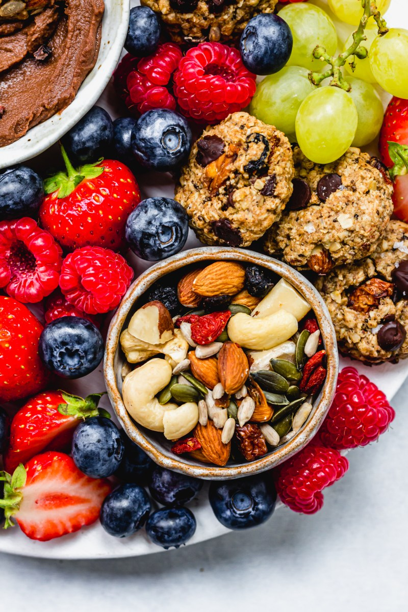 Vegan Dessert Board close up with fruit