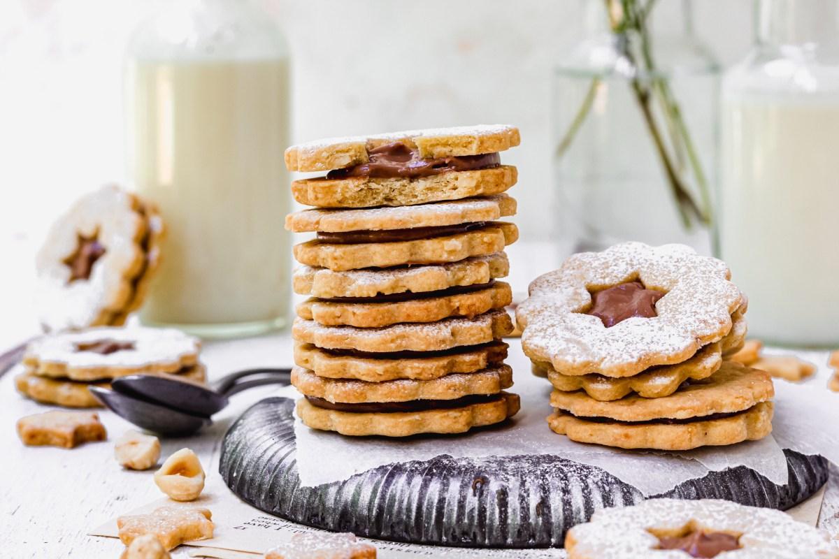 Landscape image of Chocolate Hazelnut Linzer Cookies