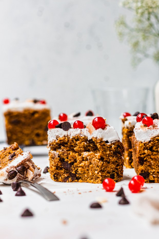 A piece of Pumpkin Chocolate Chip and Coconut Cake with a fork