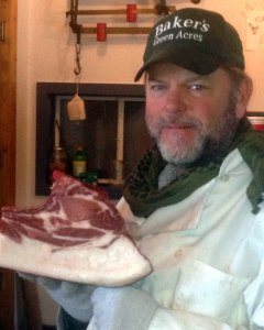 "Mark Baker with his ""illegal"" pork."