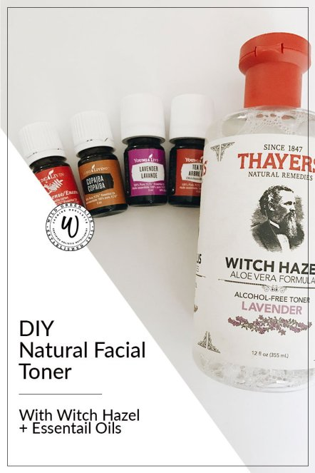DIY Natural facial toner with with hazel and essential oils