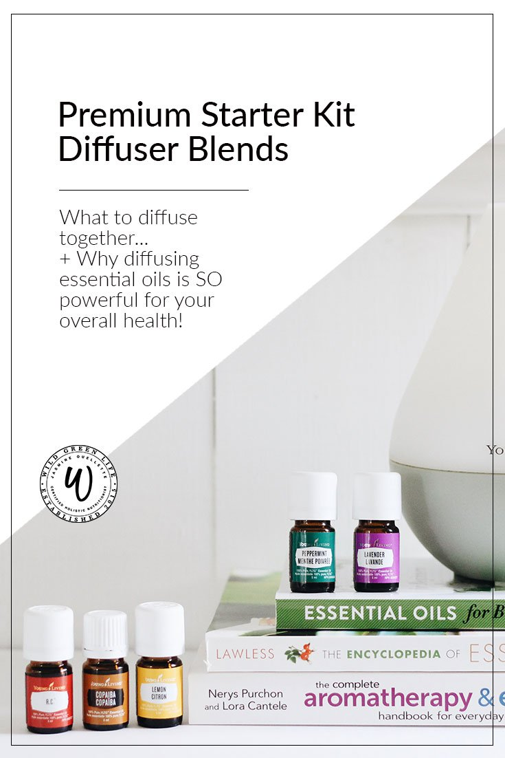 Premium Starter Kit diffuser blends. Are you wondering what to diffuse together to make your home smell good? Here are some ideas, using the oils that come in the young living premium starter kit! PLUS learn about why diffusing essential oils is SO good for your overall health!