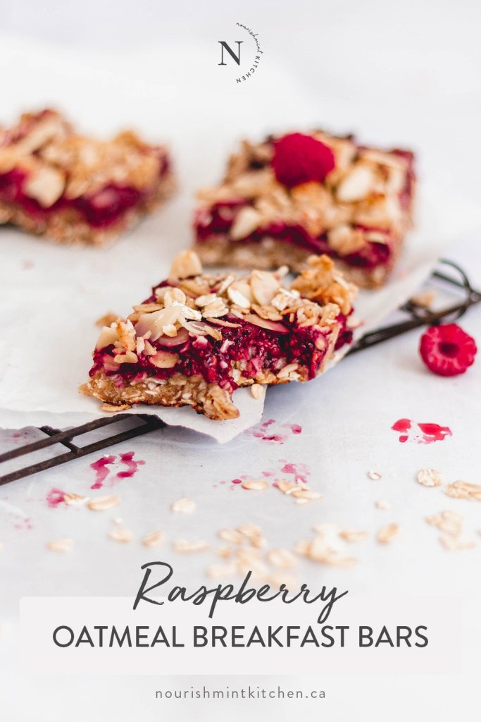 These Healthy Raspberry Oatmeal Breakfast Bars are my new favourite breakfast, and I think they might be yours as well! Made with oats, almond flour, coconut, raspberry chia jam, and no refined sugar. They are also gluten-free, dairy-free and egg-free. With a chewy crust, zesty raspberries in the middle, and a crunchy topping… you're definitely going to want to try these as soon as possible.