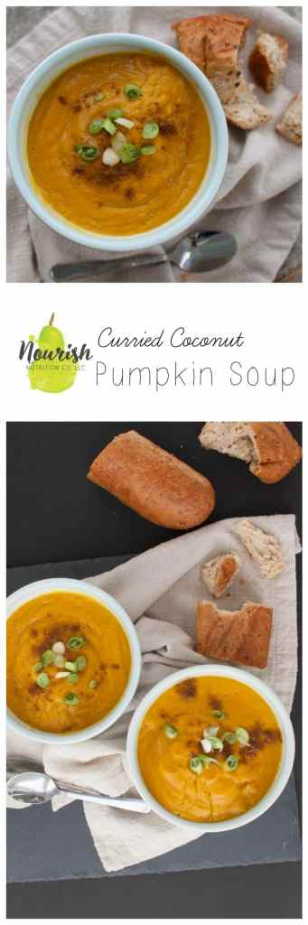 Curried Coconut & Pumpkin Soup   Do you have coconut milk, curry seasoning, and pumpkin puree at home? You're just 30 minutes away from a delicious & quick winter meal   www.nourishnutritionblog.com