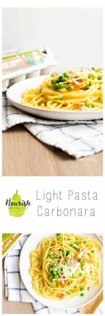 15 minute Light Pasta Carbonara. It's creamy, rich, and healthier than you'd think | Nourish Nutrition Blog | www.nourishnutritionblog.com
