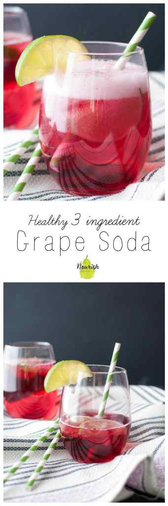 #ad 3 Ingredient Grape Soda | 100% Concord Grape Juice Concentrate, Sparkling Water, and Lime | www.nourishnutritionblog.com