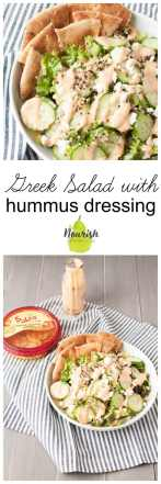 #ad Greek Salad with Roasted Red Pepper Hummus Dressing | try this easy hummus recipe made with Sabra Roasted Red Pepper Hummus that already has the delicious and wholesome chickpeas, olive oil, and goodness in it. It's an easy, healthy, and genius appetizer and side salad | www.nourishnutritionblog.com