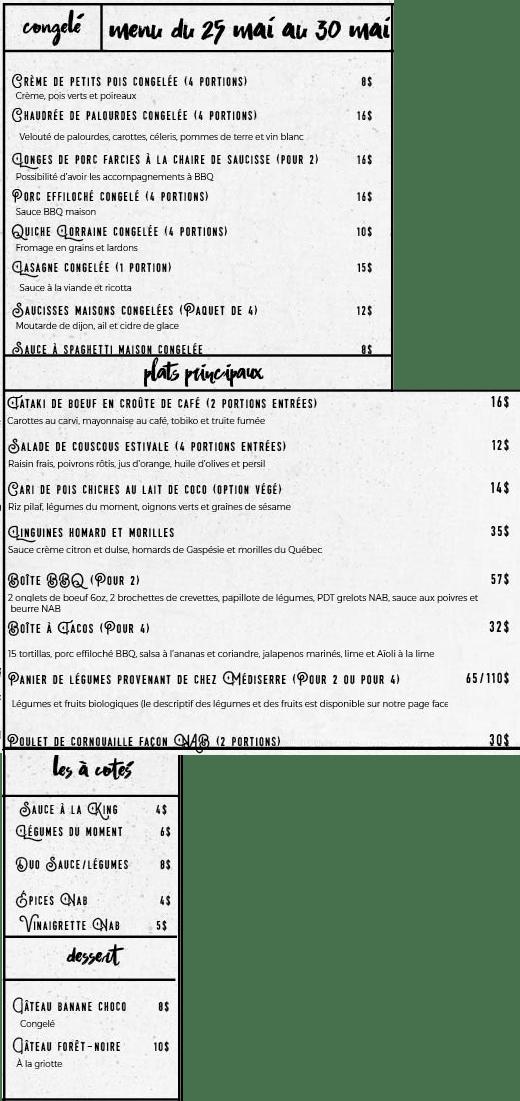 Menu Nourri au beurre : du 25 mai au 30 mai