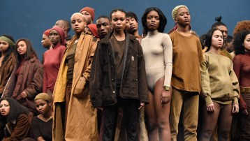 NEW YORK, NY - FEBRUARY 11: Models pose during Kanye West Yeezy Season 3 at Madison Square Garden on February 11, 2016 in New York City. (Photo by Kevin Mazur/Getty Images for Yeezy Season 3)