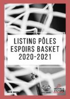 Listing Pôles Espoirs 2020-2021