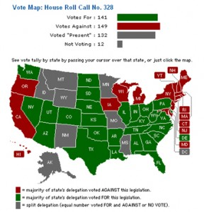 House Bill 328 Vote Map May 2008