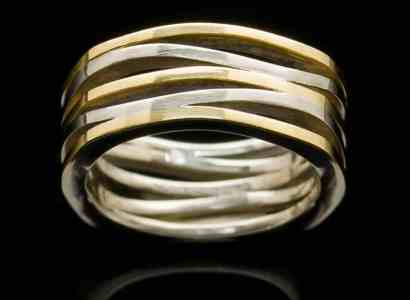 Silver Ring with Yellow Gold Square-r263sq