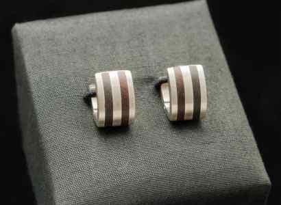 Silver Wood Earrings-er104