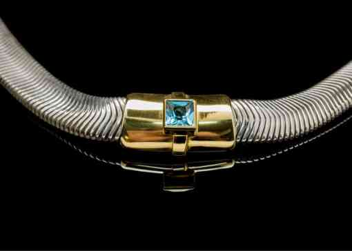 18k Yellow Gold & Silver necklace with Blue Topaz (PN113-4)