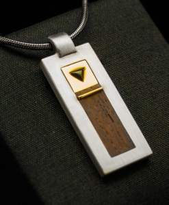 Silver Pendant with Yellow Gold, Onyx and Rose Wood Inlay (PN125)