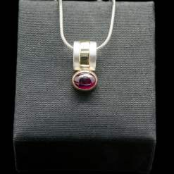Silver Pendant with 18k Yellow Gold and Ruby (PN51 Ruby)