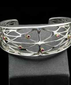 18k yellow gold & Ruby with Sterling Silver bracelet (BR113-8)