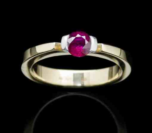 18k Yellow & White Gold ring with Ruby (GR16rd-Ruby)