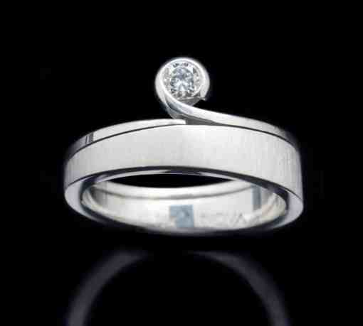 18k White Gold Ring with Diamond (GR69)