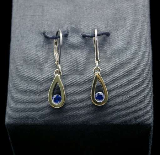 18k Gold Earrings with Sterling Silver and Sapphire (ER103-7)