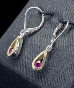 18k Gold Earrings with Sterling Silver and Ruby (ER103-8)