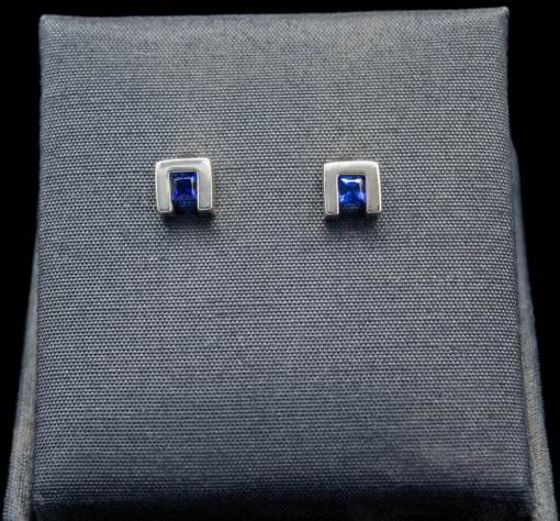 Princess Cut Sapphire Earrings with Sterling Silver (ER75-7)