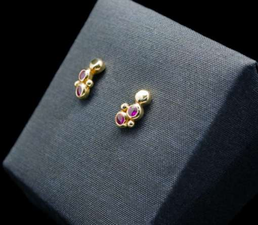 18k Gold Earrings with Sterling Silver and Ruby (ER95-8)