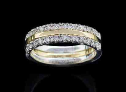 18K Yellow Gold Ring and White Gold Rings with Diamond (GR60)