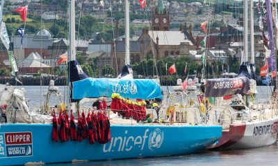 The crew of the Clipper yacht UNICEF leave their all weather suits to dry in the sun in Derry-Londonderry during their stopover after arrivimg from New York. Picture Credit: Martin McKeown/Inpresspics.com.