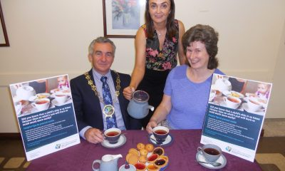 Newry, Mourne and Down District Council Chairman, Councillor Mark Murnin launches the campaign to prevent burns and scalds with Sinead Trainor, NMD Senior Environmental Health Officer (Health Improvement); and Dr Ruth Spedding, Consultant in Emergency Medicine for the Southern Health and Social Care Trust.