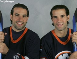 UNIONDALE, NY - SEPTEMBER 14: Brothers and Long Island natives Chris (L) and Peter Ferraro of the New York Islanders poses on September 14, 2006 at the Nassau Coliseum in Uniondale, New York. (Photo by Bruce Bennett/Getty Images)