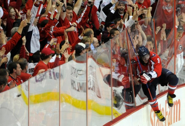 SLUG: sp_caps5 DATE: May, 4, 2009 CREDIT: Toni L. Sandys / TWP LOCATION: Washington, DC CAPTION: Capitals left wing Alex Ovechkin celebrates after scoring his third goal during the game at the Verizon Center on Monday, May 5, 2009. The Capitals won 4-3. StaffPhoto imported to Merlin on Mon May 4 21:56:01 2009