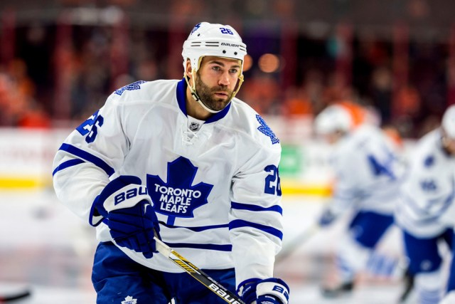 31 Jan 2015: Toronto Maple Leafs right wing Daniel Winnik (26) warms up before the NHL game between the Toronto Maple Leafs and the Philadelphia Flyers played at the Wells Fargo Center in Philadelphia, PA
